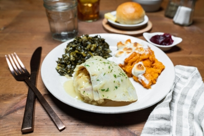 turkey and dressing with sweet potato casserole and collards