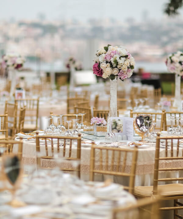 Wedding Venue with large flower centerpiece