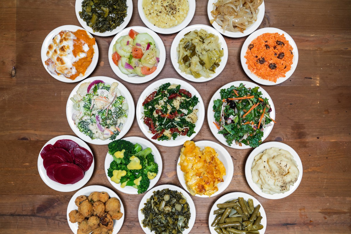 various sides of food from overhead