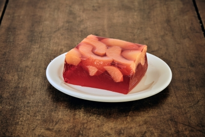 red congeal with peaches