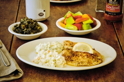 broiled tilapia with turnips and fruit salad